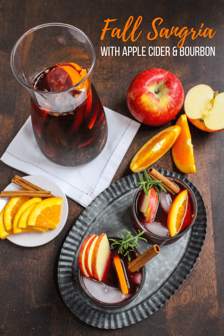 easy fall sangria recipe with apple cider bourbon and red wine