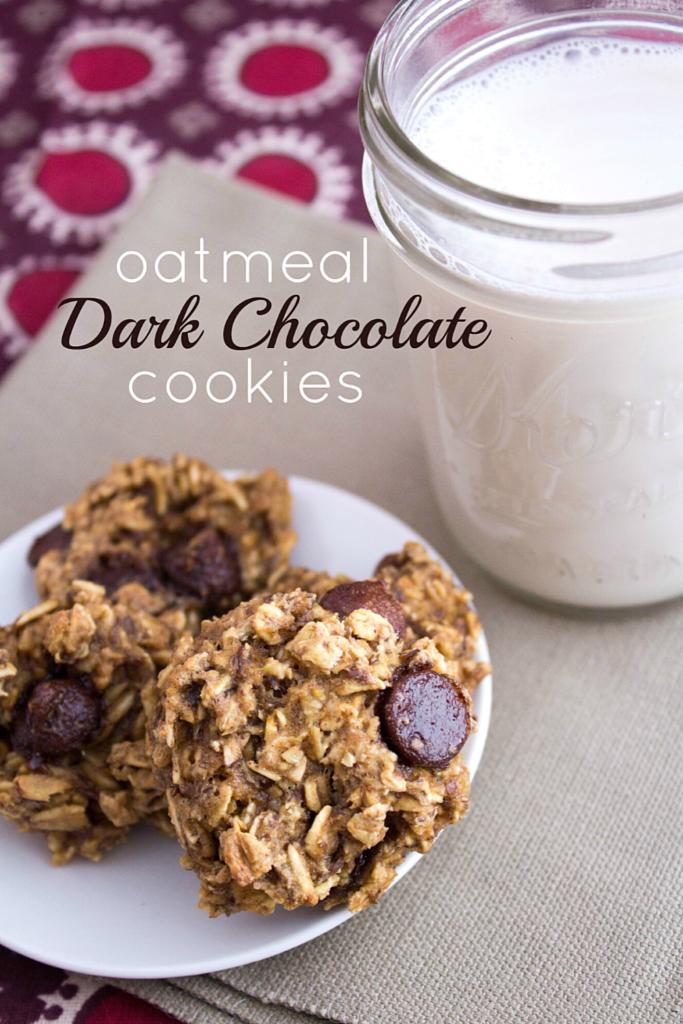 brown sugar oatmeal cookies with dark chocolate chips