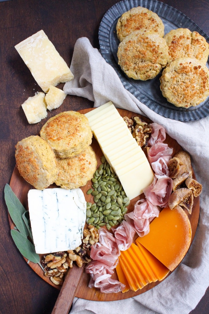 holiday appetizer spread with biscuits