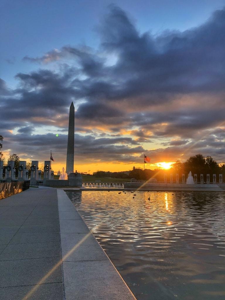 sunrise at reflecting pool DC