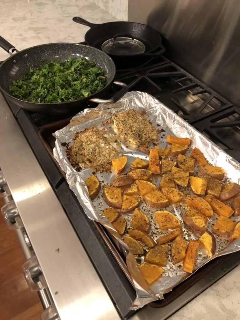 sheet pan squash fish