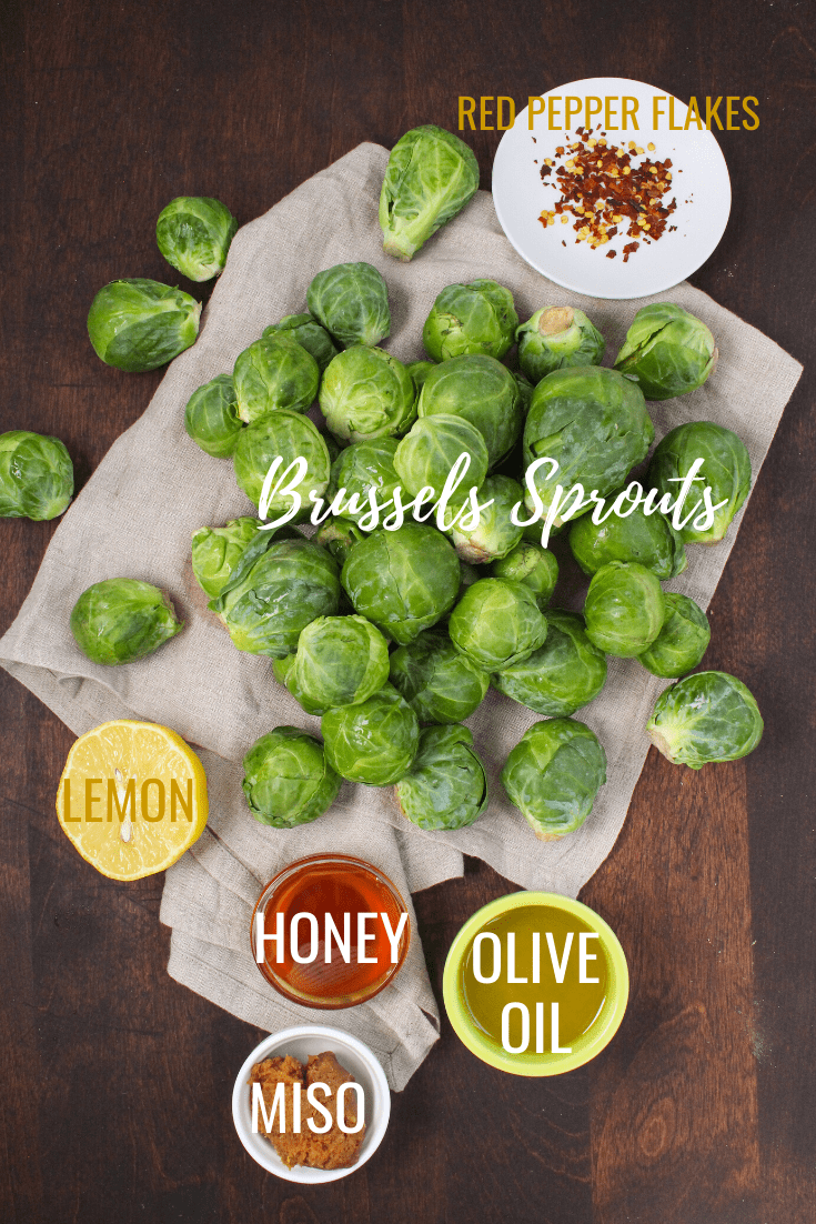 ingredients for honey miso brussels sprouts glaze