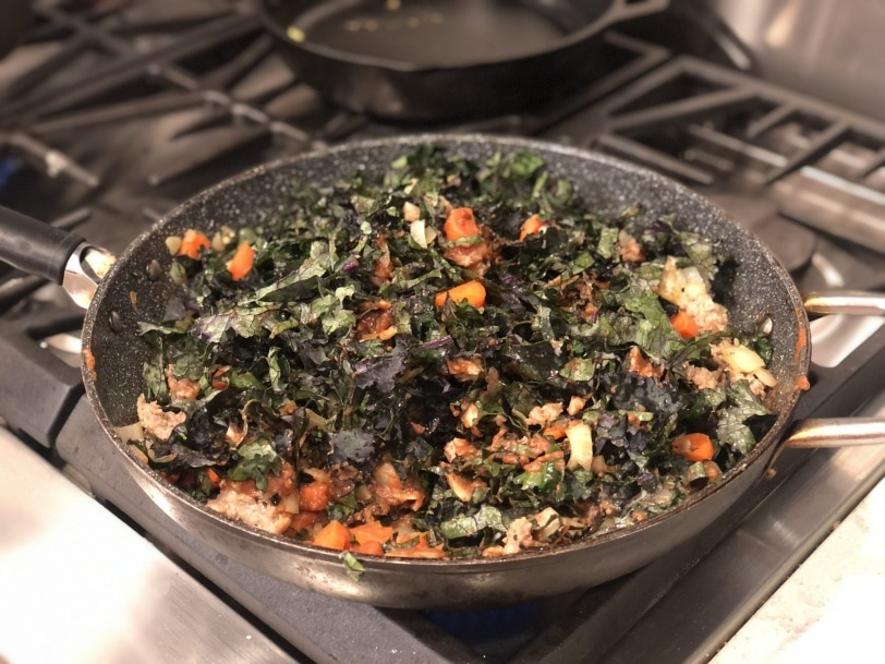 kale veggie pasta with marinara