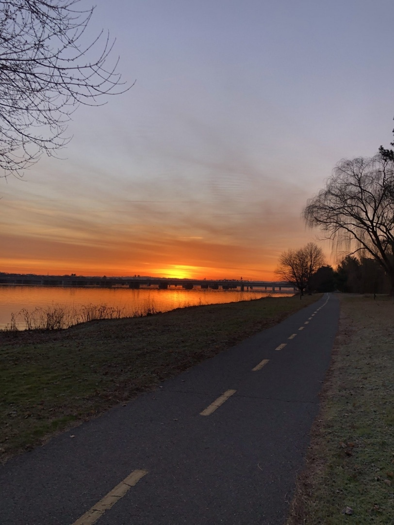 running on the GW parkway trail at sunrise