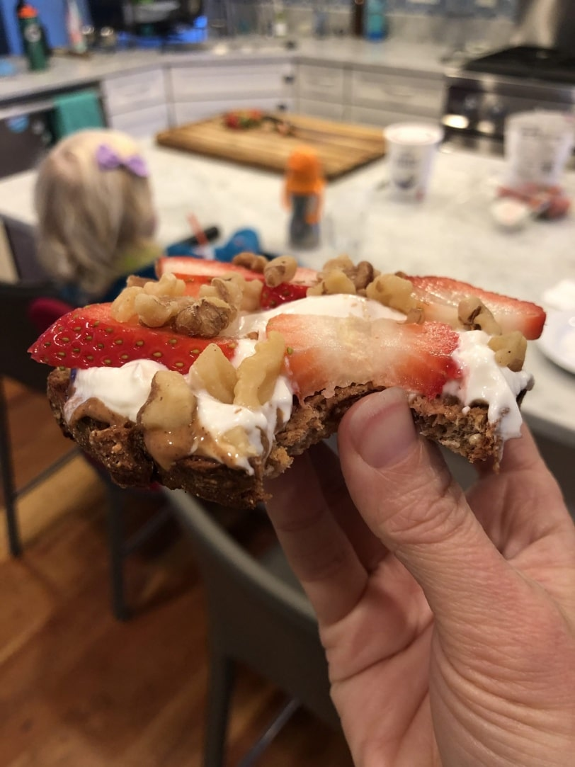 toast with nut butter yogurt and strawberries