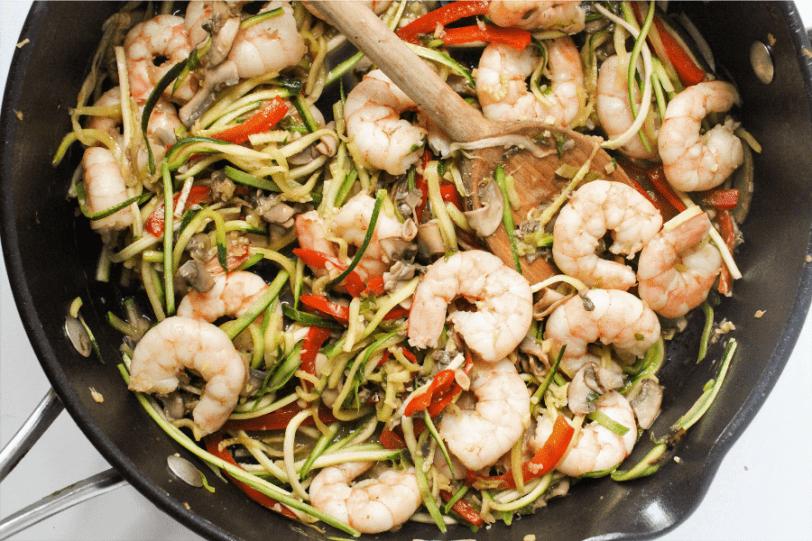 shrimp lettuce wraps ingredients in a skillet