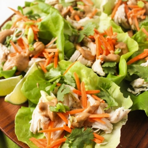 Chicken Lettuce Wraps with Peanut Sauce