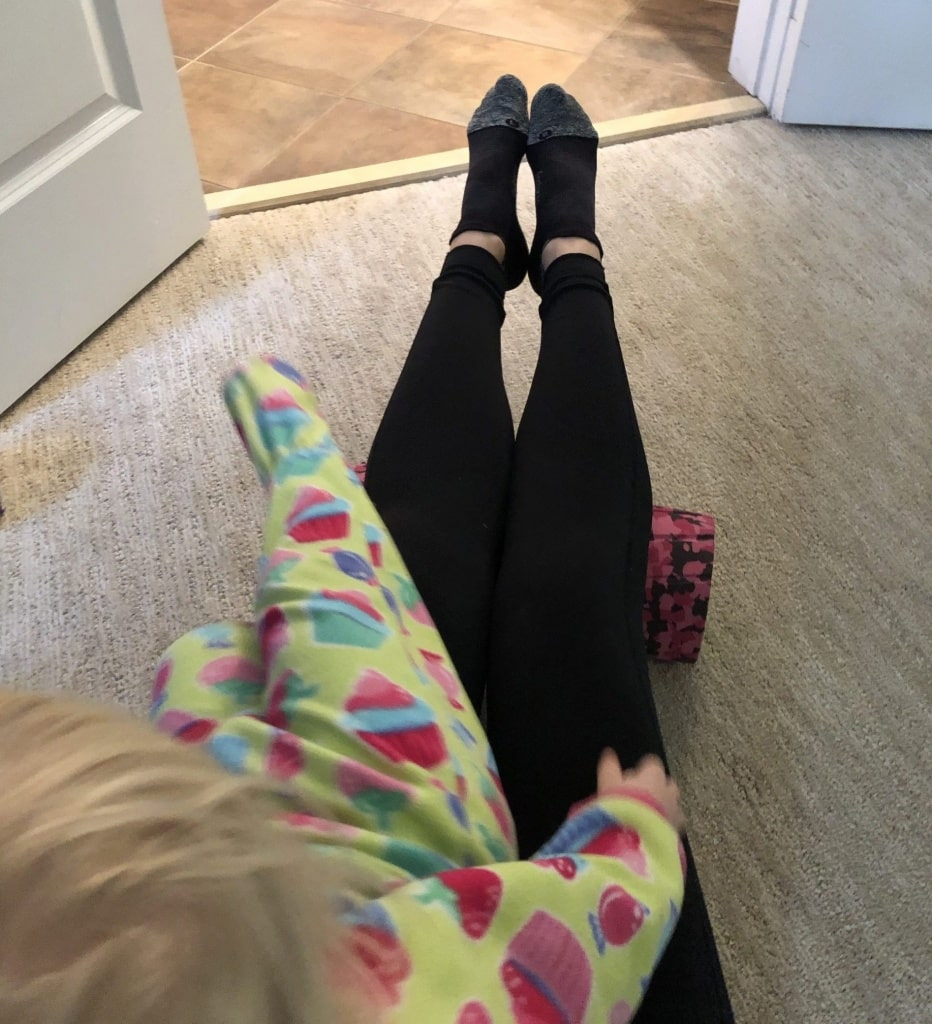 foam rolling with a toddler