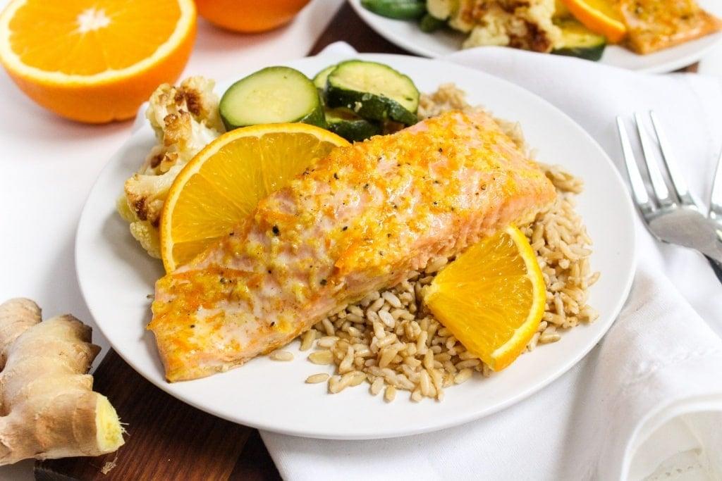 orange honey glazed baked salmon