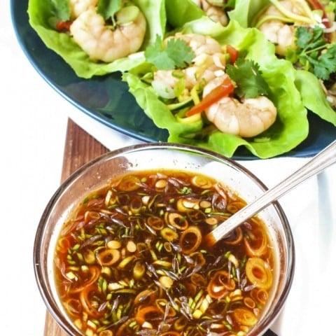 Shrimp Lettuce Wraps with Sriracha Dipping Sauce