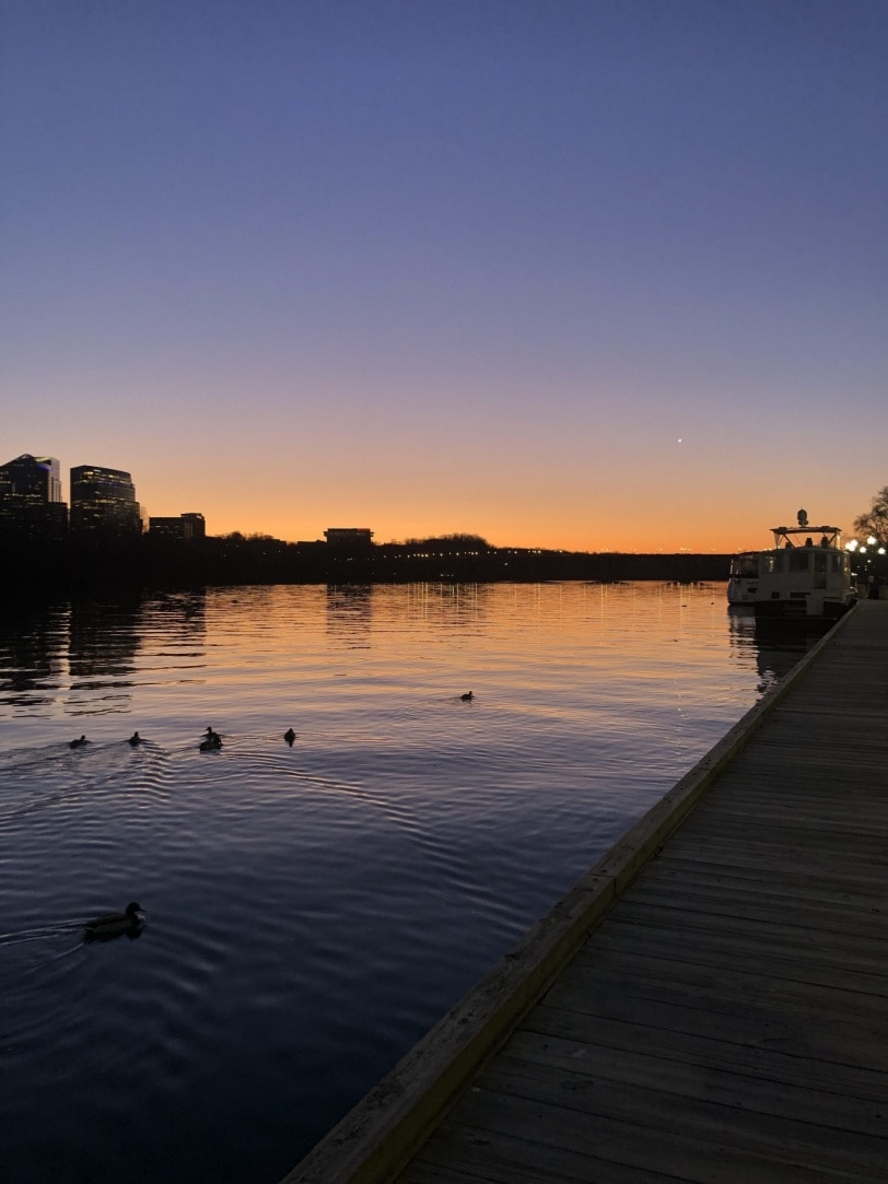 sunset on the georgetown waterfront