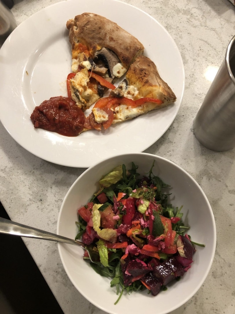 valentine's pizza and salad