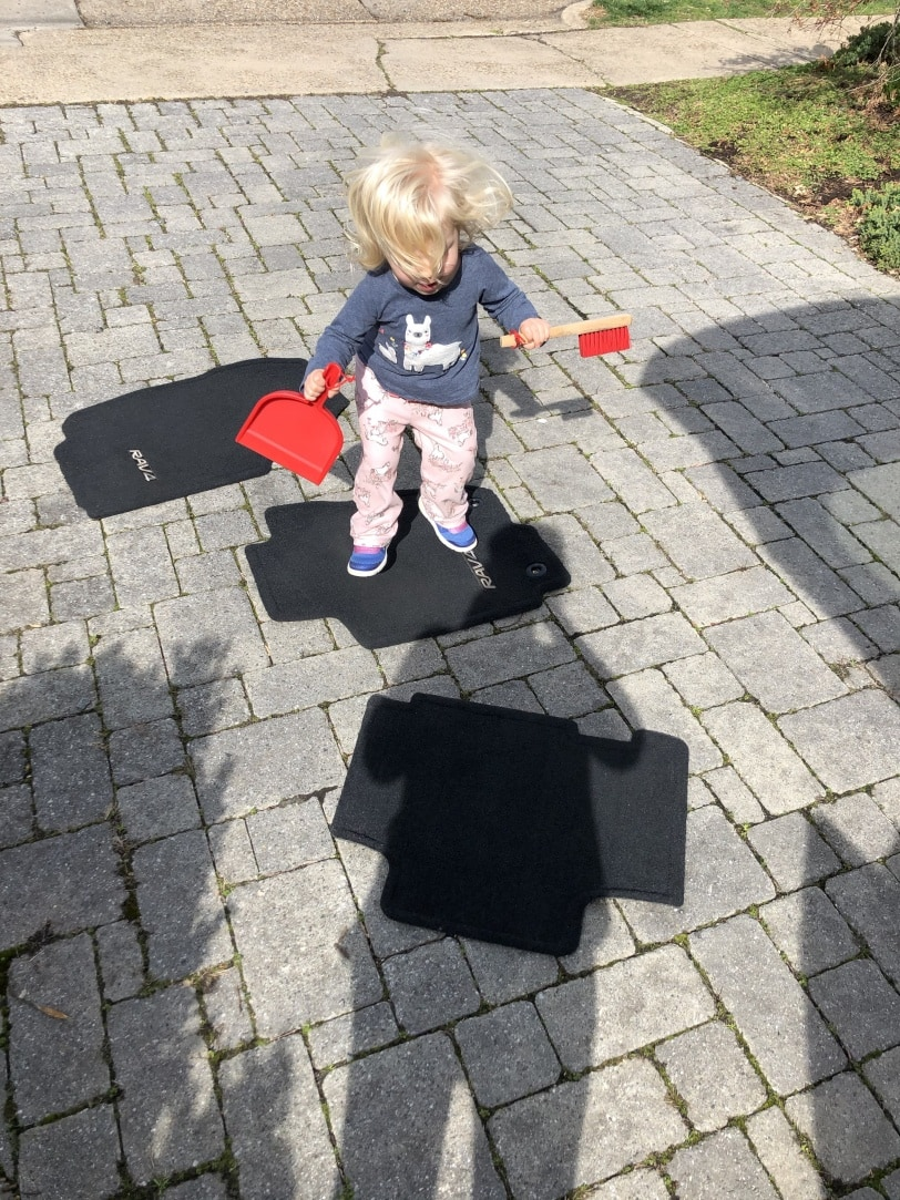 cleaning the car with a toddler floor mat hopscotch