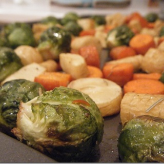 Sheet pan roasted vegetables: brussels sprouts, parsnips and carrots