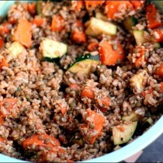 Brown Rice, Sweet Potato, and Lentil Salad with Hemp Vinaigrette