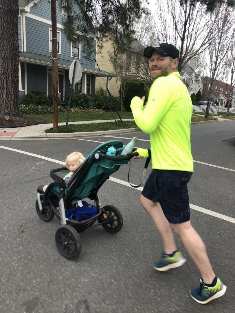 stroller run dad