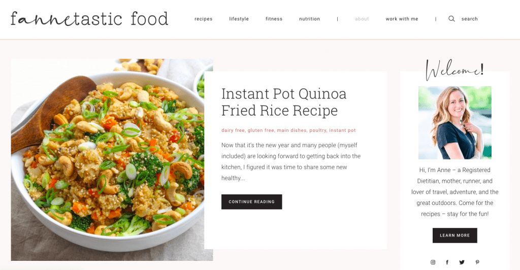 fANNEtastic food blog redesign 2020
