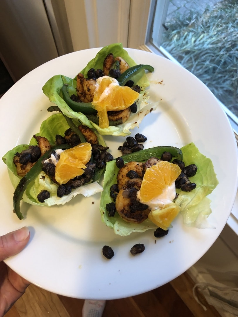 shrimp and black bean lettuce wraps