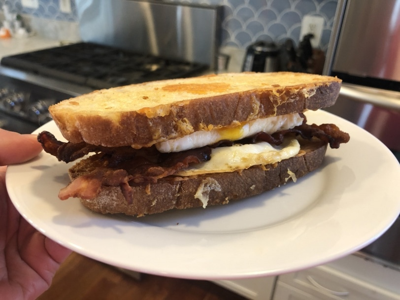 homemade bacon egg and cheese sandwich
