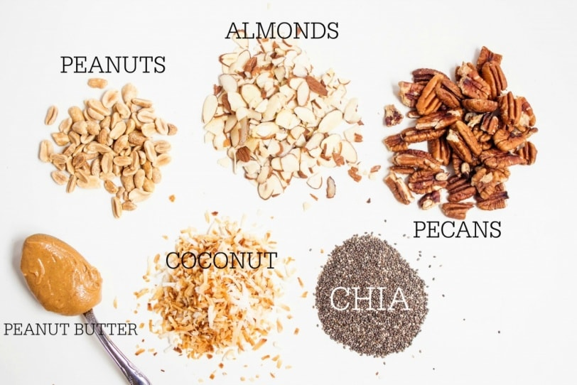 healthy oatmeal recipe toppings: nuts, chia seeds, shredded coconut, peanut butter