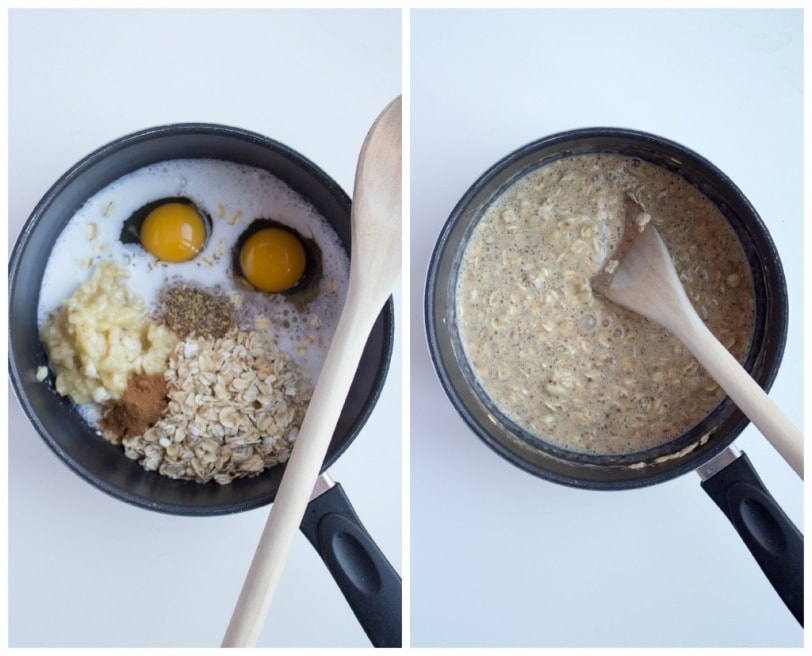 stovetop oatmeal in a saucepan with eggs, banana, cinnamon, and flaxseed