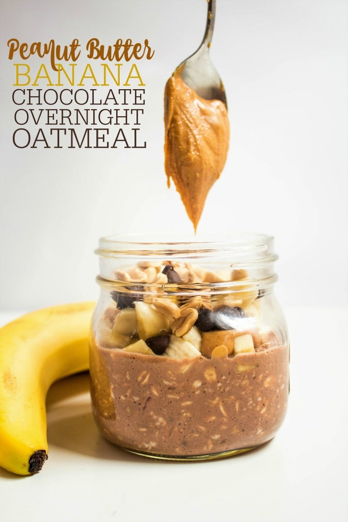 chocolate peanut butter overnight oats with banana in a jar