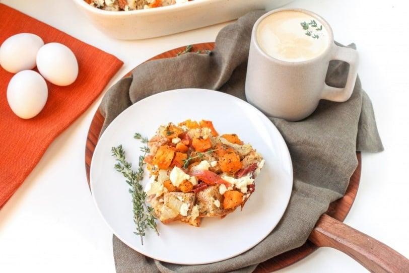 savory butternut squash prosciutto strata recipe