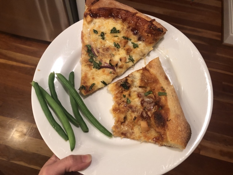 friday night pizza and string beans