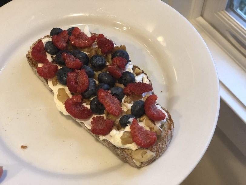 toast with yogurt, fruit, nuts