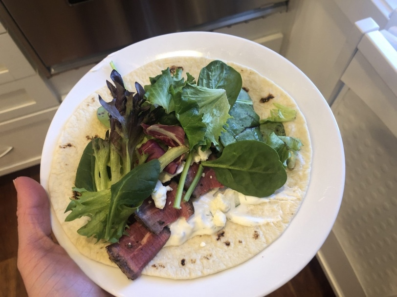 leftover steak wrap with tzatziki