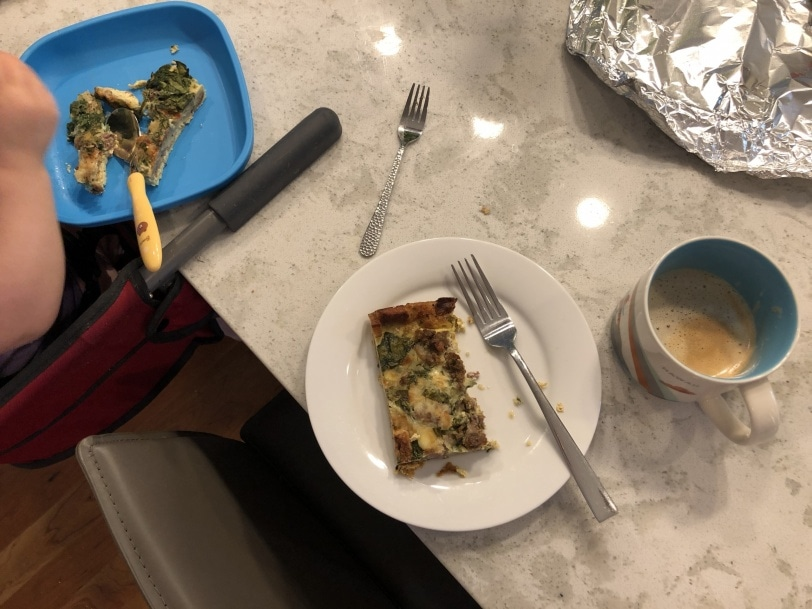leftover sausage and egg casserole with a latte