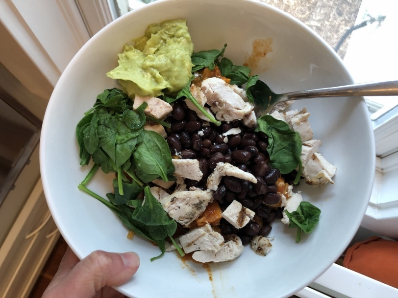 sweet potato black bean chicken spinach bowl