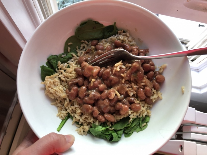 beans and rice with spinach