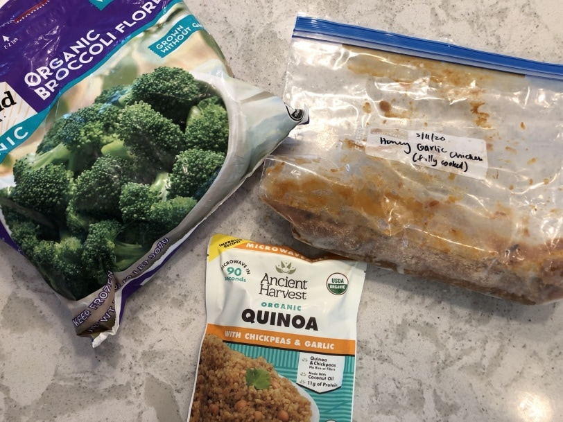 super easy lunch with quinoa broccoli leftover chicken