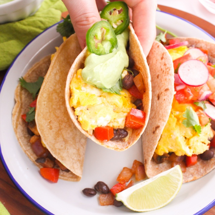 Healthy Breakfast Tacos Recipe With Avocado Crema Fannetastic Food