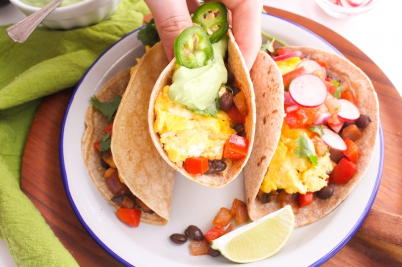 egg tacos on a plate