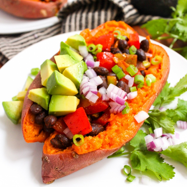 Vegan Stuffed Sweet Potatoes with Black Beans