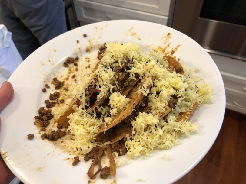 beef and lentil tacos with cheese