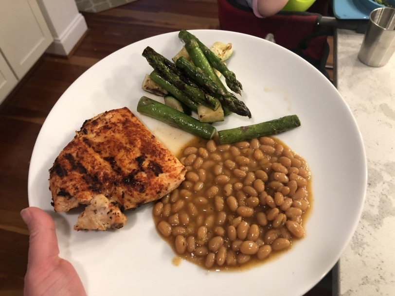 grilled chicken with baked beans and grilled asparagus and zucchini