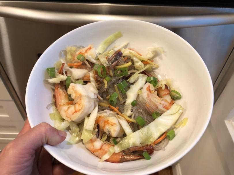 shrimp and glass noodles dinner