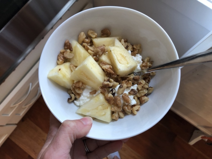 cottage cheese with walnuts and pineapple