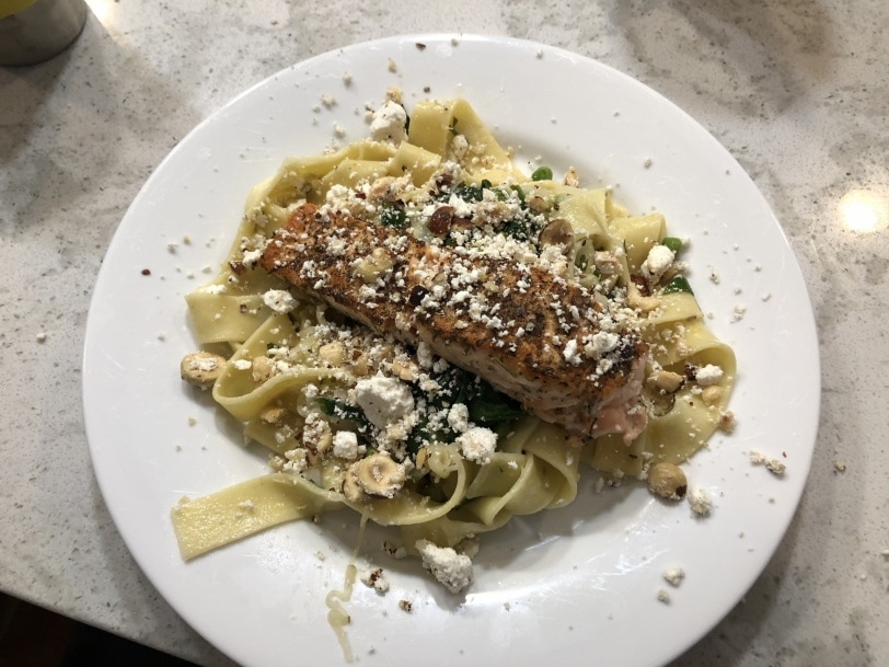 salmon with pasta