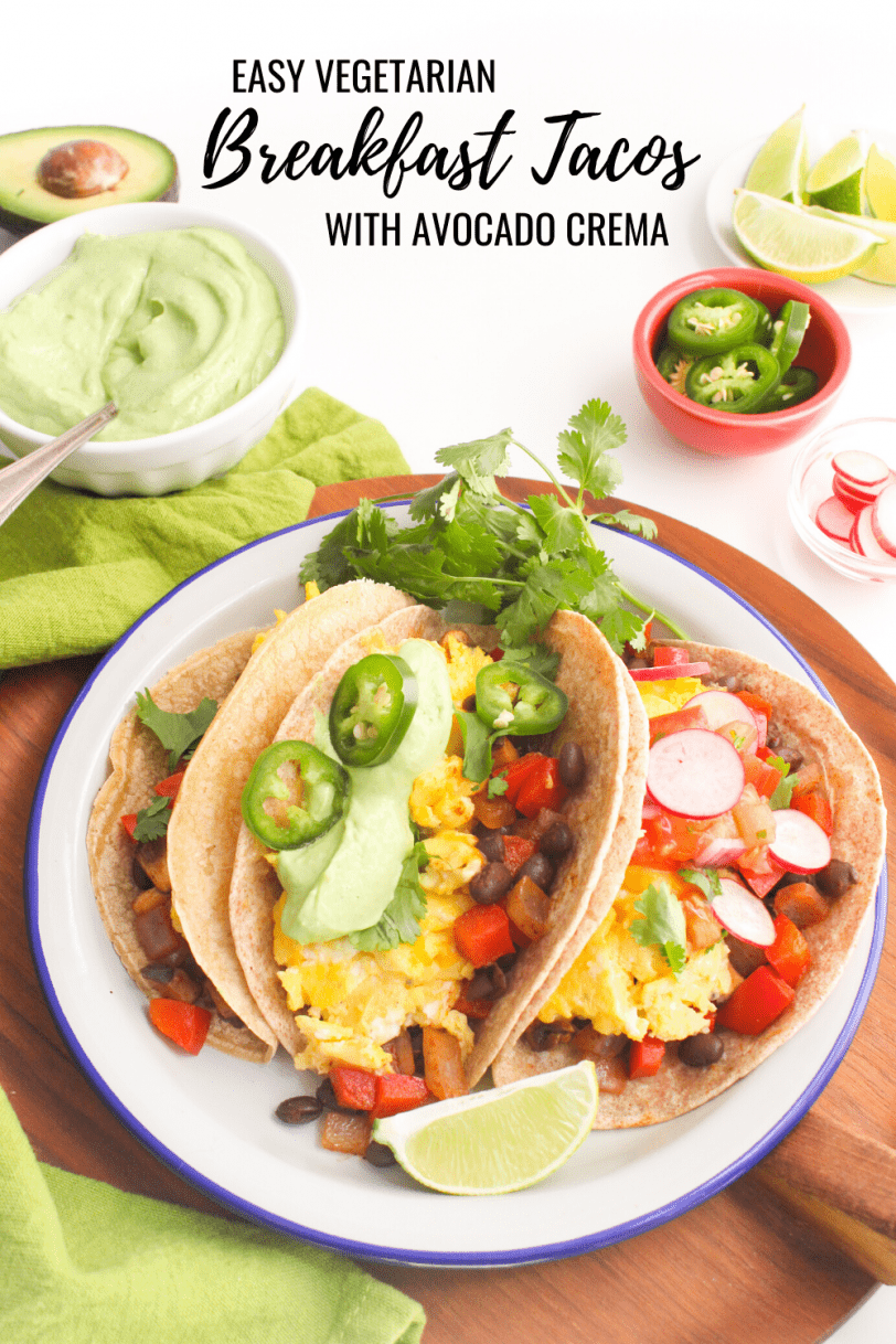 vegetarian healthy breakfast tacos with toppings