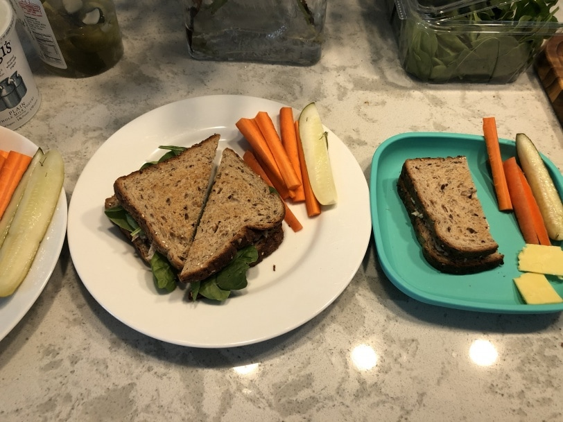 tuna sandwiches for lunch with pickles and carrots