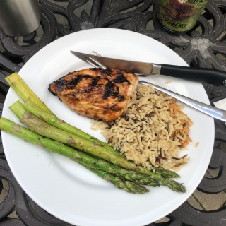 grilled marinated honey mustard chicken with grilled asparagus and rice