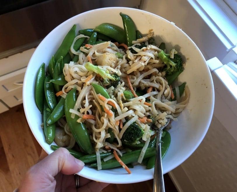 asian shrimp noodle bowl with snap peas