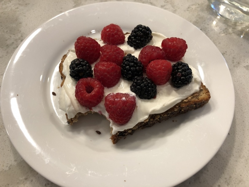 toast with nut butter, yogurt, and berries