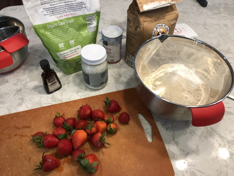 making strawberry scones