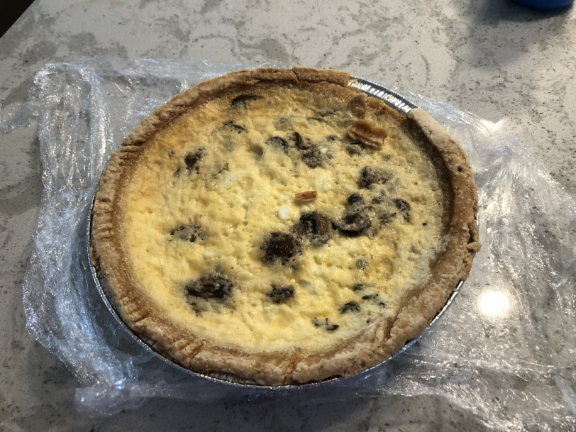 delicious mushroom and goat cheese quiche from stomping ground