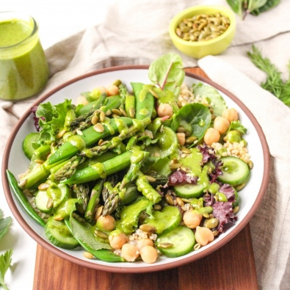green goddess salad with snow peas and honey vinaigrette